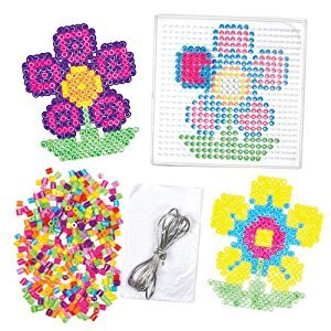 Flower Fuse Bead Kits for Children to Design Create and Give as a Mother's Day Gift (Pack of 6)
