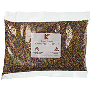Karma Keepers Rainbow Rice Colored Non Toxic Sensory Tables, 3 lb., Neon