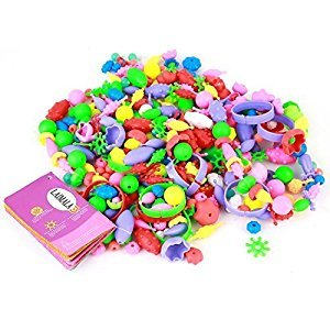 LAIMALA Colourful Beads Toys for Kids Handmade DIY Crafts Arts Jewelry Making Kits Assorted Shapes and Colours, Reusable, 1 Box