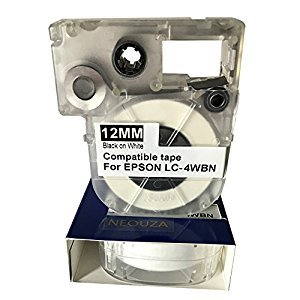 New quality Compatible Epson Black on White 12mm Tape Label LC-4WBN9 LW-300 LW-400 LW-500 LW-700 by P-EP