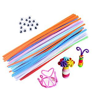 10 colorful Creative Pipe Cleaners Chenille Stem 6mm x 12 inch Random Color--200 pcs in total, and 200 Pcs Plastic Small animal eyes attached