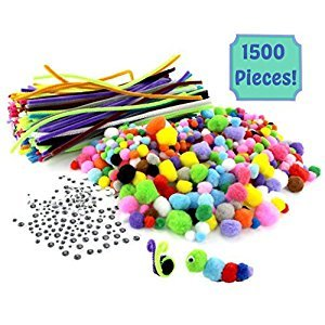 1500-Piece Arts & Crafts Supply Kit Super Value-Pack with 750 Pom Poms, 300 12