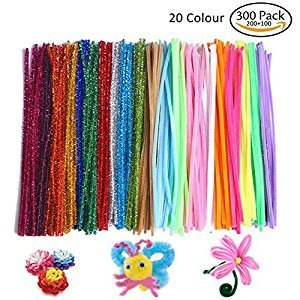 COCODE 300PCS Pipe Cleaners Set,DIY Art Craft Chenille Stems 6 mm x 12 Inch,20 Colors Available