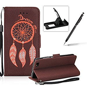 Leather Case for Huawei P8 Lite,Strap Flip Wallet Cover for Huawei P8 Lite,Herzzer Luxury Stylish Shining Bling Glitter Dreamcatcher Design Brown PU Leather Stand Card Holder and ID Slot Money Pouch Magnetic Clasp Slim Flip Protective Skin Case Cover for H
