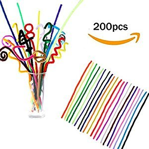 MAARYEE 200 PCS 6*300mm Chenille Stems Pipe Cleaners,Multicolor Mixed Plush Iron Wire Flexible Flocking Craft Sticks Chenille Stems Pipe Cleaners For Children DIY Handmade Education Toy