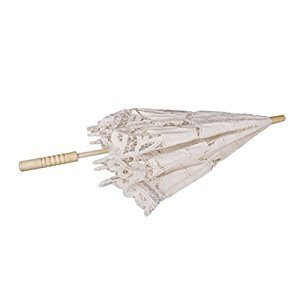PIXNOR Bridal Wedding Umbrella Lace Cotton Embroidery Handmade Parasol Umbrella for Wedding Party Photo Props (Shell)