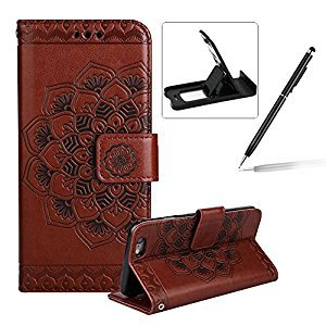 Rope Leather Case for iPhone 6S Plus,Strap Wallet Case for iPhone 6 Plus,Herzzer Bookstyle Classic Elegant Mandala Flower Pattern Stand Magnetic Smart Leather Case with Soft Inner for iPhone 6 Plus/6S Plus 5.5 inch + 1 x Free Black Cellphone Kickstand + 1
