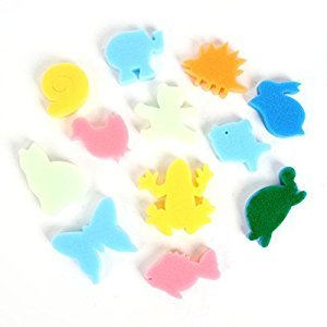 UEETEK Set of 24pcs Colorful Different Shaped Painting Sponge DIY Graffiti Stamp (Random Color)