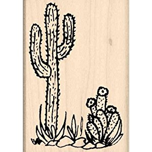Cactus Rubber Stamp - 1-3/4 inches x 2-1/2 inches