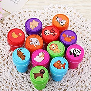 GlowSol 12-Piece Multicolor Assorted Plastic Animal Stamps Set Self Inking Stamps Toy Gifts for Kids Toddler Best Self Inking Plastic Christmas Themed Stamps