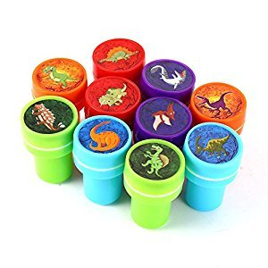 Lanlan 10pcs Assorted Stamps Kids Party Favors Event Supplies for Birthday Party Gift Toys Boy Girl Pinata Fillers Dinosaur