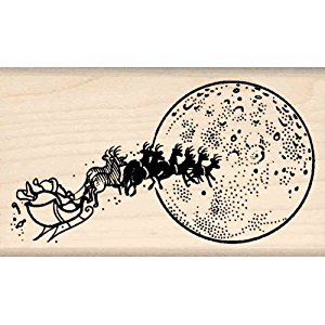 Santa's Sleigh Rubber Stamp - 1-3/4 inches x 3 inches