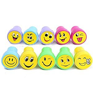SODIAL(R) 10Pcs Emoji Smile Silly Face Stamps Set Stationery For Kids Gift Party Loot Bag