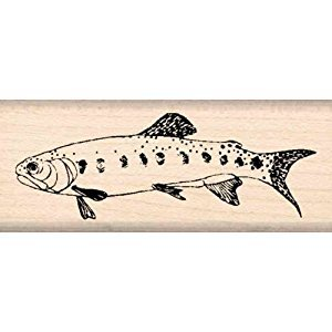 Trout Fish Rubber Stamp - 1 inch x 2-1/2 inches
