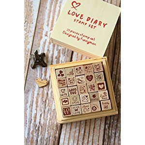 WellieSTR 25PC Stamp seal funny design rectangle wooden box rubber mini stamps stamp set