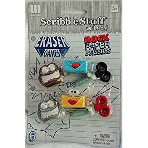 Scribble Stuff Rock Paper Scissors 6 Pack Erasers
