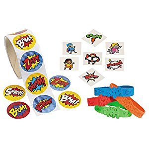 Fun Express Superhero Party Supplies Kit with Sticker Roll 100 Pcs, 12 Superhero Sayings Bracelets and 36-Piece Temporary Tattoos - Great for Kids Birthday Party Favors, Christmas Gifts, Loot Bags, Giveaway and More!