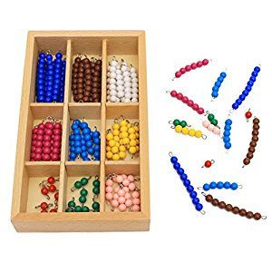 Studyset Mathematics Educational Wooden Toy Material 1-9 Colorful Beads Bar with Wooden Box Early Preschool Training Learning Toy