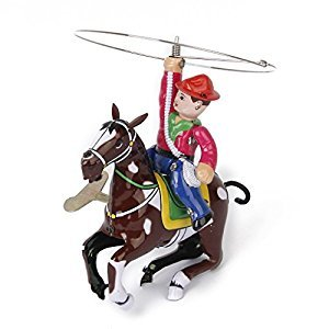 Vintage Wind Up Tin Toy Cowboy with Whip and Spinning Lasso Present