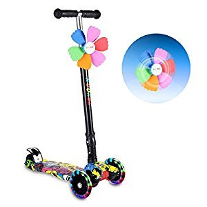 KUOKEL Children Folding Kick Scooters Age 4-10 Flashing PU Wheels 3 Wheel Adjustable Height Handle with Mini Winnower Black