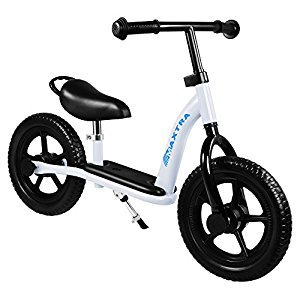 Maxtra Lightweight Adjustable Kids Training Balance Bike No Pedal Push Bicycle for Age 3 to 7 Year White