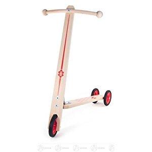 Toy scooter with 3 plastic wheels height of approx. 62 cm ore mountains wood scooter impeller