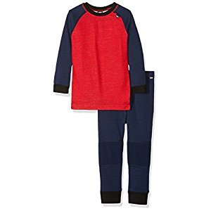 Helly Hansen Kids Heather Warm Base Layer Top & Bottom Set, Evening Blue/Alert Red, Size 7