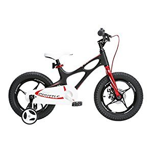 RoyalBaby Space Shuttle kid's bike, lightweight magnesium frame, 16 inch with training wheels and kickstand, Black, 2017 newly-launched