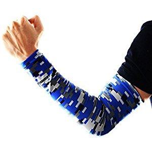 COOLOMG Youth Anti-Slip Arm Sleeves Cover Skin UV Protection Sports Adult, Digital Blue, XX-Small