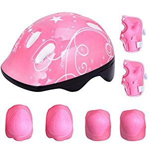 Fansport 7PCS Kids Protective Gear Cycling Protective Gear Sport Skateboarding Helmet with Knee Elbow Wrist Pads