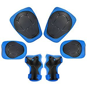 [KuYou] Kid's Protective Gear Set,Roller Skating Skateboard BMX Scooter Cycling Protective Gear Pads (Knee Pads+Elbow Pads+Wrist Pads),(Blue)