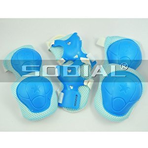SODIAL(R) Child Skating Knee Elbow Wrist Protective Guard Pad Set - Blue