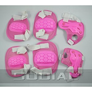 SODIAL(R) Knee Elbow Wrist Skate Pad Kit Protective Gear Pink
