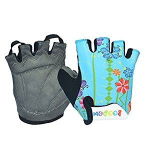 Yougle Padded Cycling Bicycle Gloves MTB Bike Racing Riding Skateboard Skating Half Finger For Kids Children M/L 6-10 Years Old--Sky Blue Flower