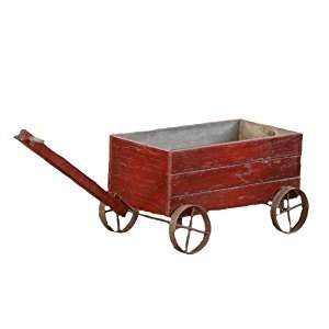 Your Hearts Delight Wooden Cart with Metal Wheels, 16-1/4 by 8-1/2 by 9-1/2-Inch, Distressed Burgundy
