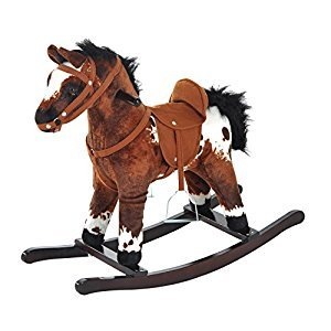 Qaba Children Kids Rocking Plush Horse Toy Pony Wooden Ride Rocker Sound, Brown
