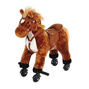 Qaba Kids Walking Pony Ride on Horse Rocking Toy Wheels & Footrest Neigh Sound, Brown
