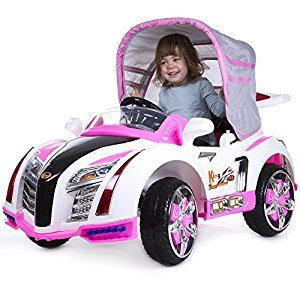 Rockin' Rollers Pre-Assembled Battery Operated Car with Canopy, Pink