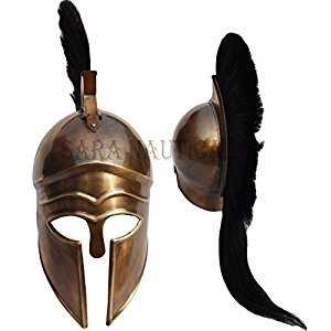 Greek Warrior Costume Helmet Medieval Knight Crusader Spartan Collectible