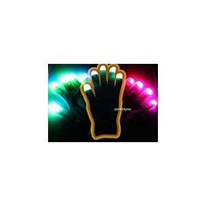 Zehui Finger Flashing Glow Gloves Black Suitable for Dark Blacked Out Gloves RGB LED 7 Colors Light Show Gloves