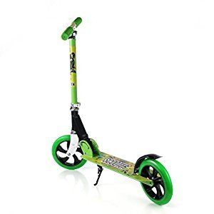 Kick Scooter, 2 Big Flashing Wheels Easy-Folding Adjustable Handle Bars with Dual Suspension, Street Push Aluminum Alloy Foldable Scooter for City Urban Adult Teen Riders, Supports 150KG Weight - Smooth & Fast Ride … (Green)
