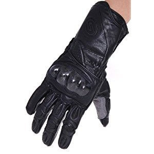Seibertron SP2 SP-2 Men's Leather On-Road Motorcycle Gloves Genuine Leather Motocross Motobike Motorcycle Racing sports gloves (Black, M)