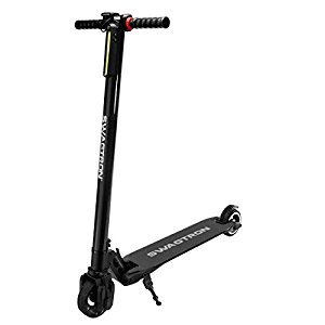 Swagtron Swagger Electric Powered World's Lightest Carbon Fiber Foldable Motorized Scooter, Black