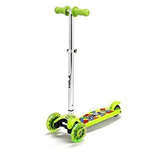 Vokul 1281F LED light 3 Wheel Mini Kick Scooter with Adjustable Height(Green Material by FDA)-Green