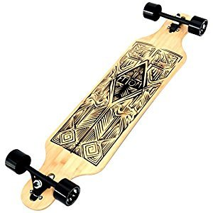 Atom 40-Inch Bamboo Drop-Through Longboard, Tiki