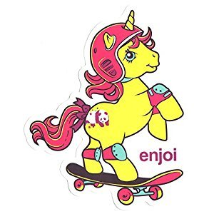 Enjoi X My Little Pony Skateboard Sticker Yellow - 13.5cm high approx. skate board bmx guitar sk8 skateboarding new