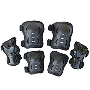 Kid Toddlers Knee Elbow Wrist Safety 3-IN-1 Protective Guards Pads Set for Cycling Roller Skating Ice Skate Skateboard Bike Mini Bike Bicycle Cycling and Other Extreme Sports (Black)