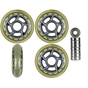 4-Pack Indoor/Outdoor Inline Skate Wheels 80mm 79a + Abec 9 bearings SIL