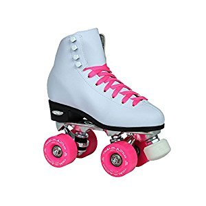 Epic Skates 2016 Epic Classic 5 High-Top Quad Roller Skates with Pink Wheels, White
