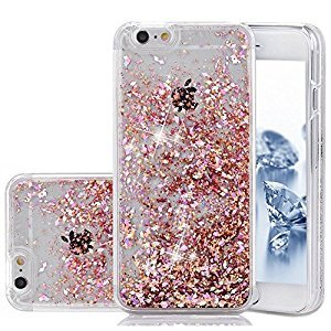 iPhone SE Case, Liquid Case, Asstar Fashion Creative Design Flowing Liquid Floating Luxury Bling Glitter Sparkle Diamond Hard Case for iPhone SE, iPhone 5, iPhone 5S (Rose gold)